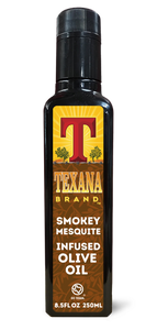 Texana Brand Smokey Mesquite Infused Olive Oil, 250ml (8.5oz)