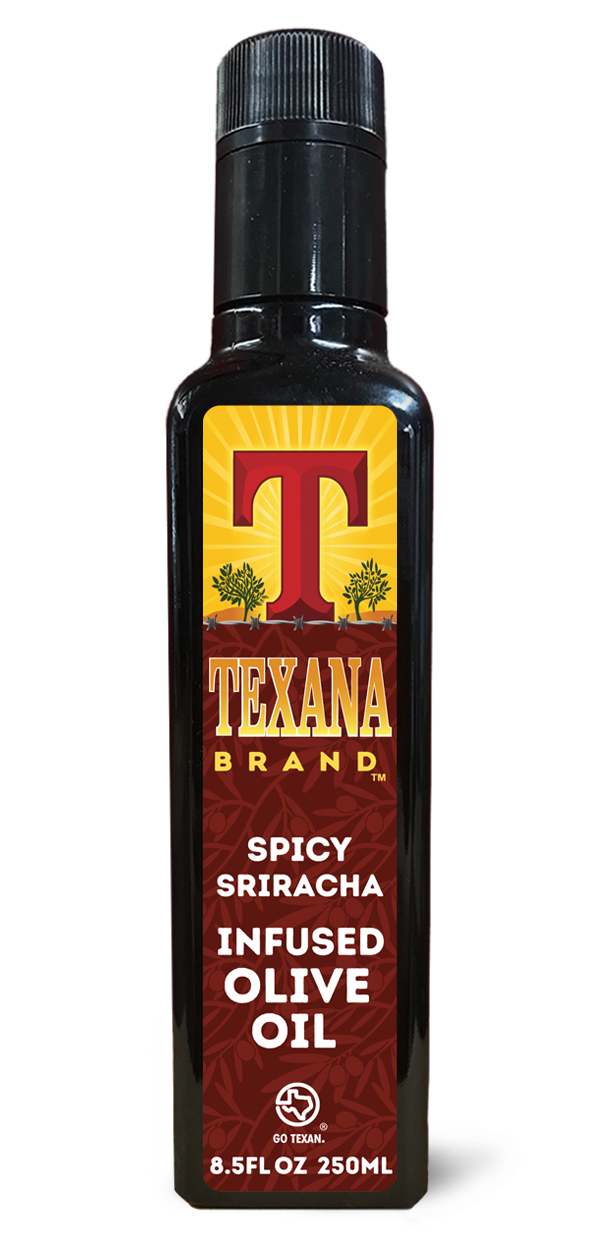 Texana Brand Spicy Sriracha Infused Olive Oil, 250ml (8.5oz)