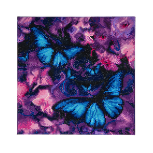 "CAK-AM1: ""Blue Violet Butterflies "" Framed Crystal Art Kit 30 x 30cm (Medium)"