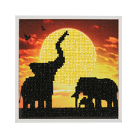 "CAK-2020F: ""Elephant Family"" Framed Crystal Art Kit, 20x20cm (SMALL)"