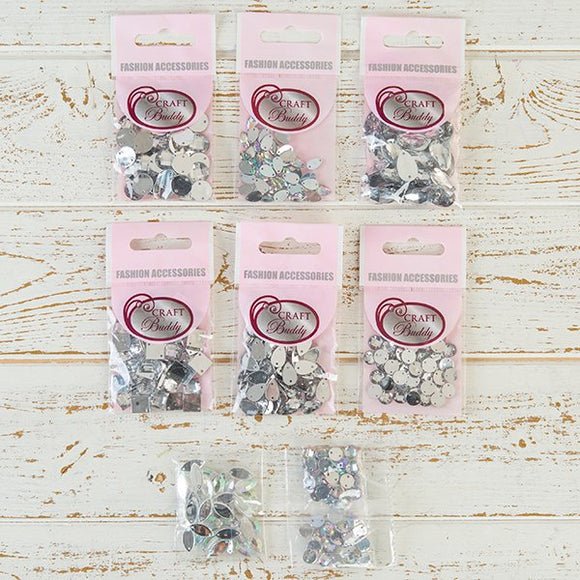 Craft Buddy Set of 400 Sew on AB Clear and Clear Gems