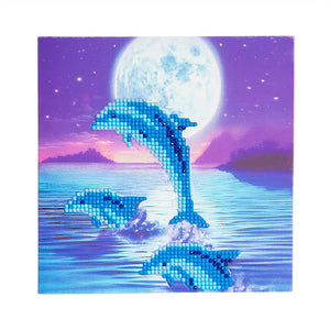 "CCK-A11. ""Moonlight Dolphins"" Crystal Card Kit"