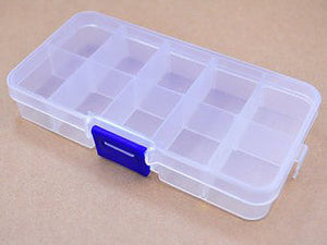 SMALL 10-compartment Adjustable Plastic Storage Box with Lid, 13 x 7 x 2cm