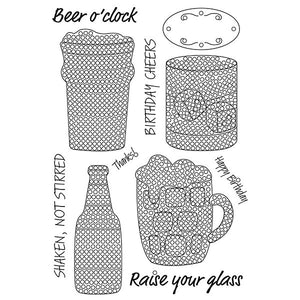 Craft Buddy Crystal Art Stamp Sets - Beer O'Clock Stamp Set - CCST13