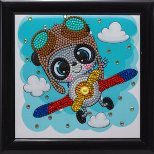 "CAFBL-5: ""Flying Panda"" Crystal Art Frameables Kit with Picture Frame"