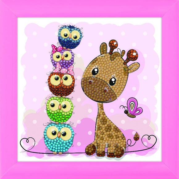 CAFBL-8: GIRAFFE AND FRIENDS, 16x16cm Frameables Crystal Art