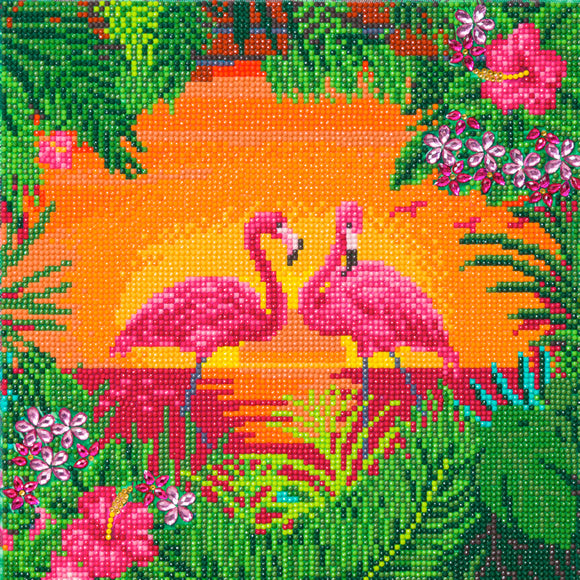 CAK-A117M: Fancy Flamingos, 30x30cm Crystal Art Kit