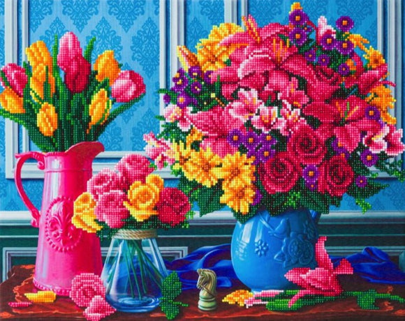 CAK-A126L: Beautiful Blooms, 40x50cm Crystal Art Kit
