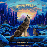 "CAK-A67: ""Howling Wolves"" Framed Crystal Art Kit 30 x 30cm (Medium)"