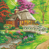 "CAK-TK2M: ""Friendship Cottage"""" 30x30cm Crystal Art Kit  THOMAS KINKADE"""