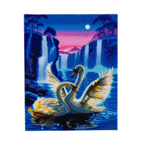 "CAK-XLED7 ""Moonlight Swans"" Framed LED Crystal Art Kit - 40 x 50"