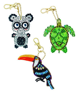 CAKC-A1: CRYSTAL ART KEYRING KIT - SET OF 3 KEYRINGS - EXOTIC ANIMALS. In Colour Box