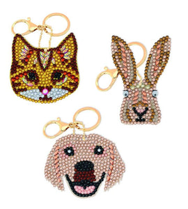 "CAKC-A2: Set of 3 ""Perfect Pets"" Crystal Art Keyring Kit"