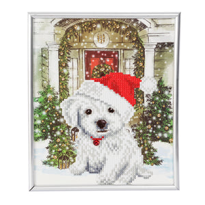"CAM-21: ""Festive Pup"" Crystal Art Picture Frame Kit, 21 x 25cm (Partial)"