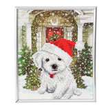 "CAM-21: ""Festive Pup"" Crystal Art Picture Frame Kit, 21 x 25cm"