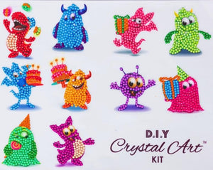 Monster Family, 21x27cm Crystal Art Sticker Set - CAMK-2020SET3