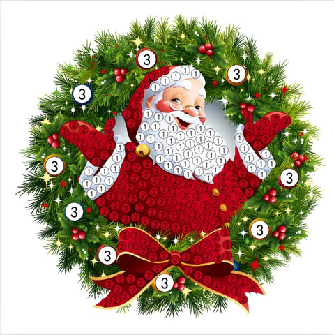 "Santa Wreath   - ""Christmas"" Crystal Art Motifs (With Tools) - CAMK-49"