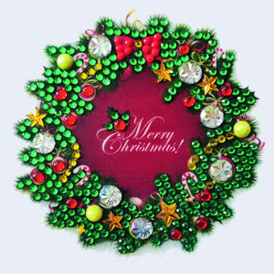 Christmas Wreath, 9x9xm Crystal Art Motif- CAMK-58
