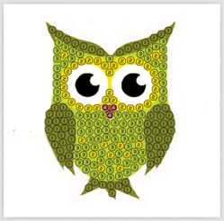 "Green Owl - ""Spring"" Crystal Art Motifs (With tools)"