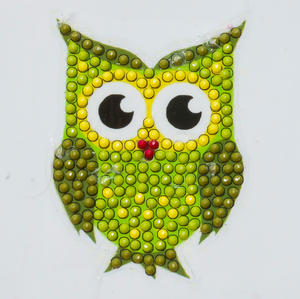 "CAMK-7: Green Owl - ""Spring"" Crystal Art Motifs (With tools)"