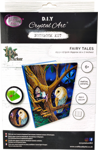 "CANJ-1 ""Owl and Fairy Tree"" Crystal Art Notebook Kit, 26 x 18cm"