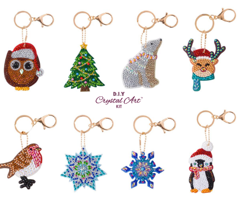 Set of 8 Crystal Art Key Rings Keychains -