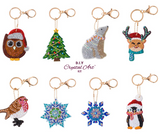 "Set of 8 Crystal Art Key Rings Keychains - ""Festive Collection"""