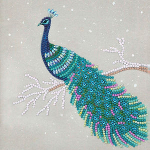 "CCK-A67:  ""Pretty Peacock"" 18x18cm Crystal Art Card"