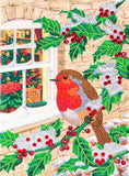 "CCKXL-7 ""Robin at the Window"", 21x29cm Giant Crystal Art Card"