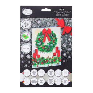 "CCKXL-8 ""Festive Wreath"", 21x29cm Giant Crystal Art Card"