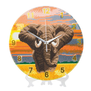 "CLK-S6: ""Elephant Sunrise"" Crystal Clock Kit - 30cm"