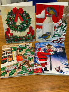 CCKXL-CNCSET4-XMAS2020: Set of 4 Giant Crystal Art Christmas Cards