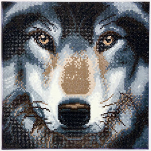 CAK-A91 Wolf, Framed Crystal Art 30x30cm