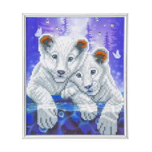 "CAM-22: ""Lion Cubs"" Crystal Art Picture Frame Kit, 21 x 25cm"