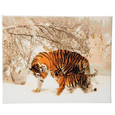 "CAK-A43: ""Winter Tigers"" Framed Crystal Art Kit, 40 x 50cm"
