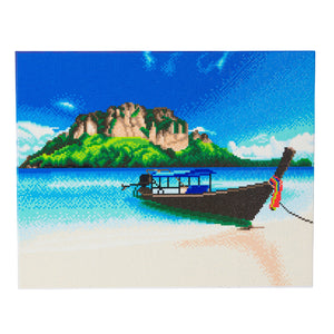 CAK-A95: Tropical Beach Boat Framed Crystal Art Kit, 40 x 50cm