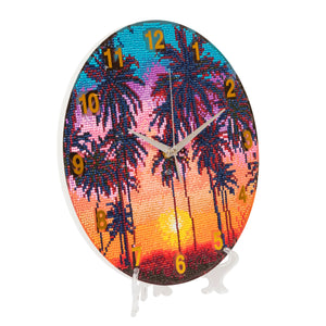 "CLK-S4: ""Sunset Palms"" Crystal Clock Kit - 30cm"
