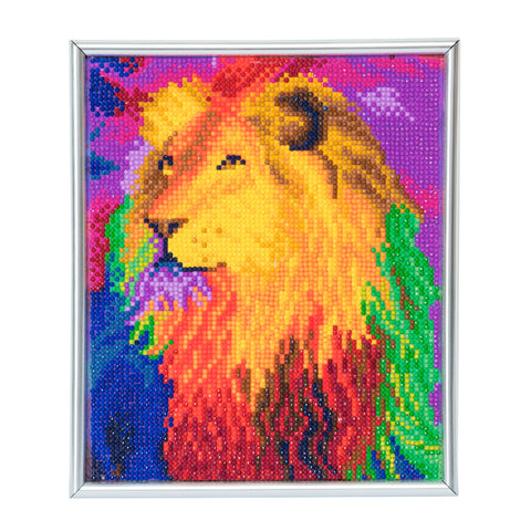 "CAM-14: ""Rainbow Lion"" Crystal Art Picture Frame Kit, 21 x 25cm"