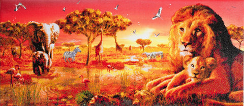 "CAK-AC3: ""Safari Sunset"" Framed Crystal Art Kit, 40 x 90cm"