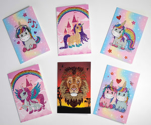 CCK-6SET1015-2: Unicorns & Lion Set of 6 10x15cm Cards