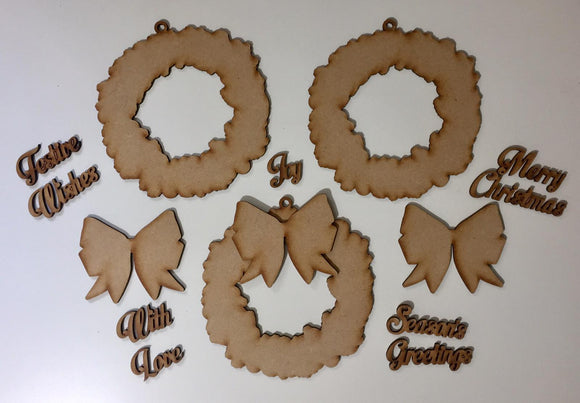 XMD14: Craft Buddy Coordinating MDF Ornaments: Sparkling Wreath