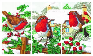 "CAK-CNCSET-TT3: ""Robin Friends"" Triptych Crystal Art Kits, Set of 3"