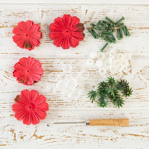 Flower Making Kit - Begonias - Crimson