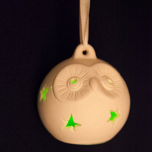 Owl Ceramic Christmas Tree Ornament with LED Light