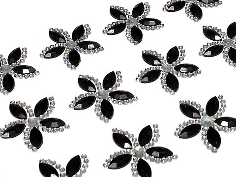 12 x 25mm Black Flower Self Adhesive Gems