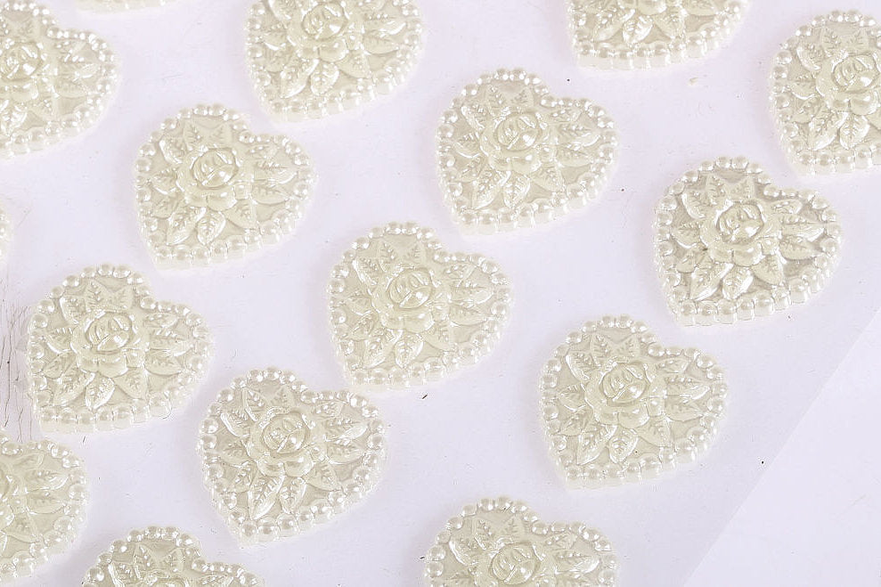 24 x 17mm Pearl Heart Self Adhesive Gems