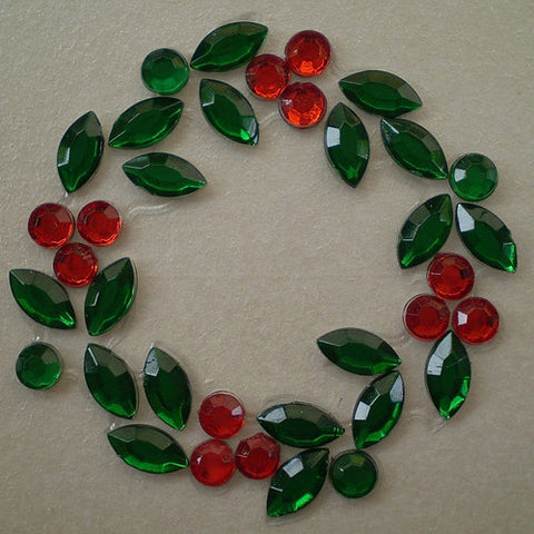 6 x Christmas Wreath Gems (XM06)