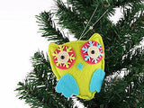 8cm Psychadelic Fabric Owl Xmas Tree Decoration