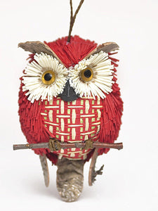Large Handmade 15cm Wicker Owl on Branch