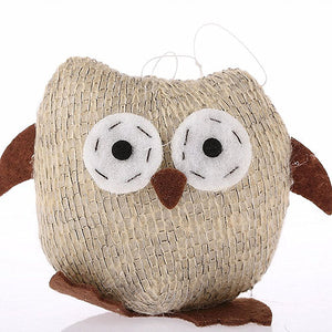 Knitted Tawny Brown Fabric Xmas Owl Decoration